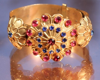 From A Private Collection Victorian Gold Tone Flower Bracelet Theater Jewelry Large Faceted Rhinestones Adjustable Collectibles