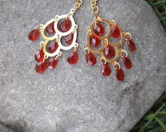 Gold Dangle Earrings with Layered Red Teardrops