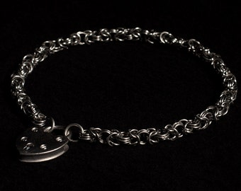 Stainless Steel Chainmail Collar/Necklace, Byzantine weave (6mm rings)