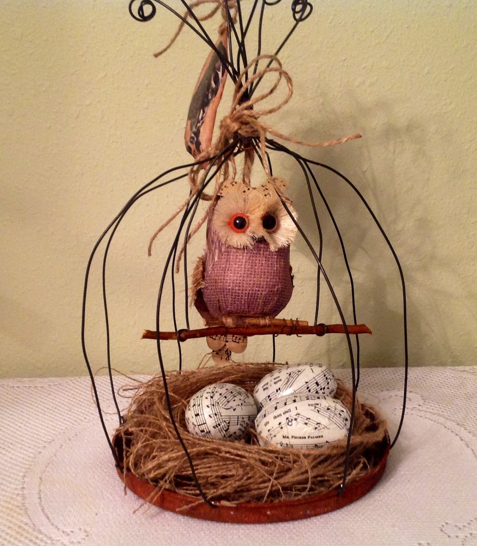 Owl Handmade Wire Bird Cage. Home Decor. Rustic Decor. Prim