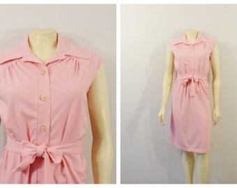 Vintage Dress 70s Jean Leslie Pink Belted Dress Flattering Defined Waist Size Small
