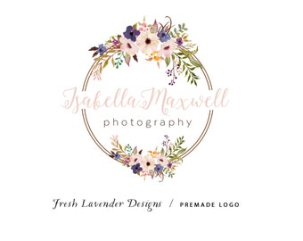 Custom logo Design Premade Logo for and Watermark for  Photographers and Small Businesses  Watercolor Floral Frame Vintage Handwritten