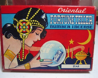 Art Deco 1920's-30's incense box Oriental Fortune Teller number Incense great graphics Nude fortune teller woman looking into crystal ball
