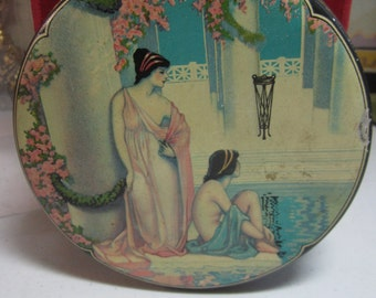 Art Deco 1920's-30's Darnee Grecian Rose Bath Talcum tin by Tin Deco  semi nude grecian ladies lounge in greek bath columns greek key design
