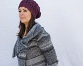 Slouchy hat, Winter hat, chunky hat, crochet, beanie - Eden Slouchy Hat - plum