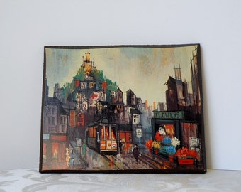 Vintage San Francisco Decoupage Picture on Wood by Friedman