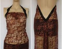 Bridal Lingerie Sheer Lace Nightgown  Gown Wedding Sleepwear Honeymoon  Bright Brown Lace