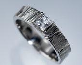 Princess White Sapphire Saw Cut Textured Modern Wedding Ring in Sterling, Palladium, Platinum, White, Rose or Yellow Gold