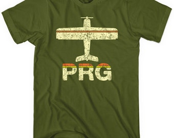 Fly Prague PRG Airport T-shirt - Men and Unisex - XS S M L XL 2x 3x 4x - Václav Havel Airport Tee - 2 Colors