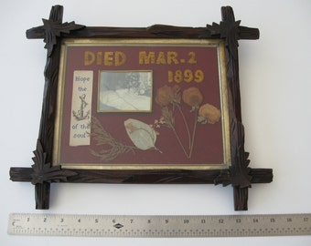 Original Embroidered Late 19th Century Memorial to deceased child, with photograph, in its original frame