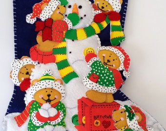 Stocking Snowman with Teddy Bears Christmas Holiday Newly Completed Vintage Felt Kit