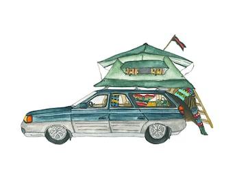 Car-Tent Fort 8x10 Print
