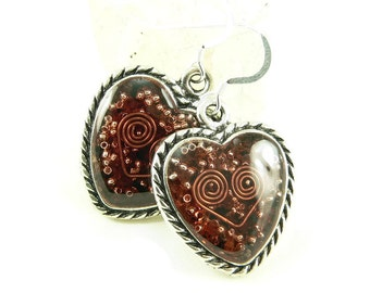 Orgone Energy Earrings - Ornate Heart Dangles - Garnet Gemstone - Positive Energy Generator - Artisan Jewelry