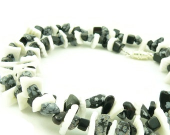For Him - Black and White Necklace - Shell and Gemstone Necklace - Mens - Unisex - Artisan Jewelry