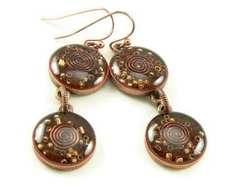 Orgone Energy Earrings - Carnelian and Copper Gemstone Dangle Earrings - Orgone Energy Jewelry - Positive Energy Generator - Artisan Jewelry