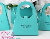 Purse Shaped Favor Bags - Set of 12 - Assembly Required - Light Teal Aqua Robbins Egg Blue Turquoise - Baby & Company, Bride and Company