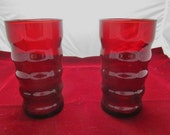 2 Vintage Ruby glass tumblers ROLY-POLY pattern 1950's