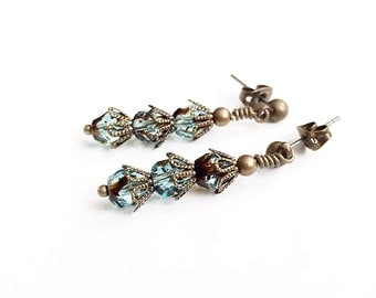 Teal Glass Bead Earrings - Teal Stud Earrings - Glass Drop Earrings - Fancy Vintage Style Earrings