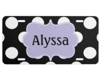 Polka Dots Personalized Monogram Aluminum Car License Plate - YOU DESIGN!