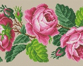 Berlin Woolwork Pink Roses Border, Yellow/Orange Roses Border, Blue Roses Floral Border Panel Cross Stitch PDF Pattern