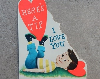 Unused 1950's Valentines Day Card  ~   Little Boy with Heart on Feet Valentines Day Card  ~  Vintage Valentines Day Card Made in USA