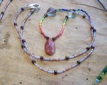 7 chakras rainbow beaded gemstone necklace,natural faceted Oregon sunstone,natural clear green flourite carved hearts, color therapy jewelry