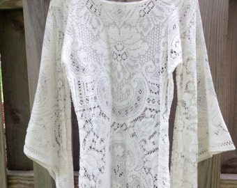 Vintage Lace Hippie Boho dress with Butterfly sleeves