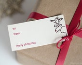 CUSTOM LISTING - Christmas Gift Tags - 20 Tags - Moose Design