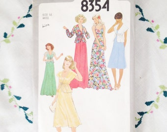 Simplicity pattern 8354, sewing pattern for vintage dress, seventies fashion dress pattern for women's dress in 2 lengths, size Miss 14