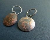 copper earrings, hammered earrings, free shipping, copper jewellery, rustic style, handmade jewelry
