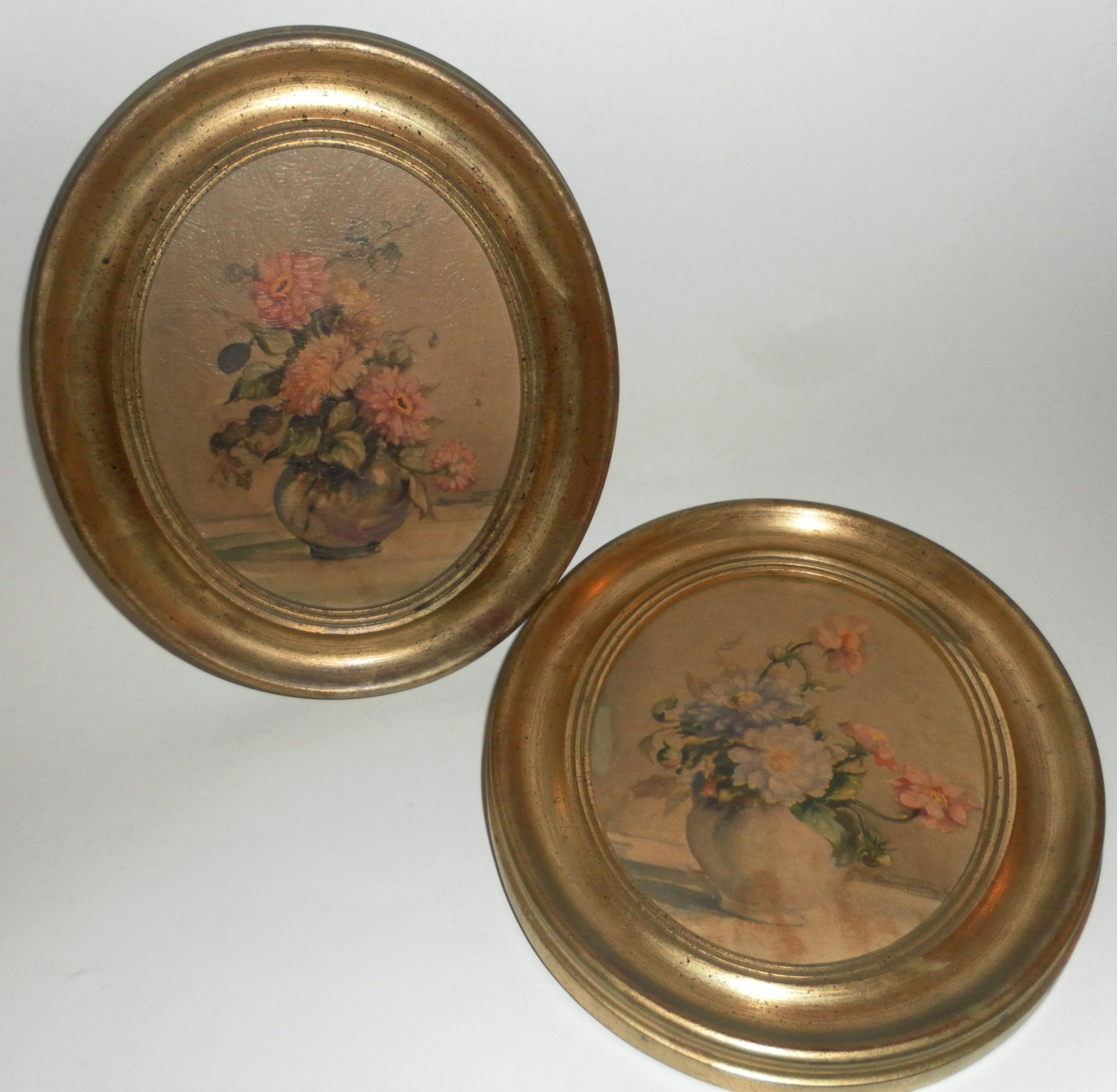 pair vintage 1950 u0026 39 s oval floral prints by a cameo