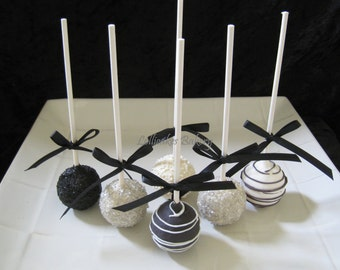 Black and White Wedding, Cake Pops Party Favors, Made to Order with High Quality Ingredients, 1 Dozen