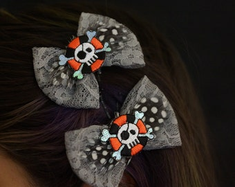 Shiny Pirate Patch Bow Hair Clip Set