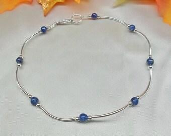 Blue Lapis Anklet Blue Lapis Ankle Bracelet Heart Anklet or Cross Anklet Denim Lapis Anklet 925 Sterling Silver Anklet BuyAny3+Get1 Free
