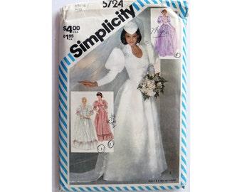 Bride Dress Pattern Size 16 Simplicity 5724 UNCUT