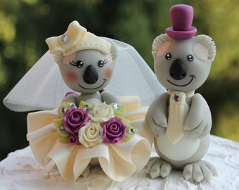Wedding koala cake topper, mulberry ivory wedding, custom bride and groom, personalized banner