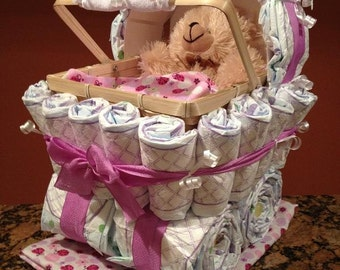 Diaper Carriage - Custom Made Baby Shower Gift