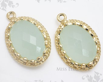 2pcs Light Mint Oval Framed Glass Stone Pendants, Gold Plated Over Brass Unique Jewelry Findings  //  13mm x 17mm // G9002-MG