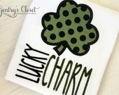Lucky Charm Shamrock Shirt or Bodysuit for St. Patrick's Day. Saint Patty's Polka Dot Clover appliqued shirt. Baby Girl, Little Toddler Boy.