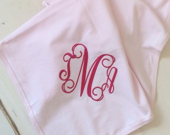 Monogrammed baby blanket. New baby present with monogram. Custom embroidered baby blanket. Cotton baby receiving blanket with initials.