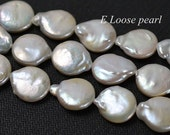 Natural White Freshwater Pearl Coin Water drop Loose pearl 13-14mm 24pcs pendant Full Strand Item No : PL4211