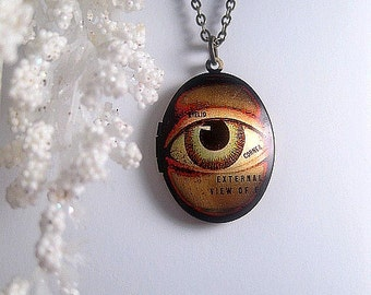 Human Eye Necklace Locket - Oval - Eyeball - Creepy - Choose Your Chain Length