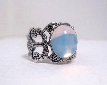 Adjustable Opal Ring - Opalite Ring - Filigree Ring - Victorian