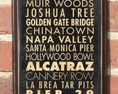 California CA Points of Interest Destinations Wall Art Sign Plaque Gift Present Home Decor Vintage Style Yosemite Hollywood Napa Antiqued