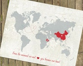 "Adoption Gift Map, Personalized Baby Gift,  World Map Customized Love Map  -  Map Sizes: 5""x7"" up to 44""x70"""
