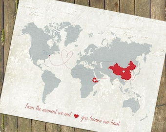 """Adoption Gift Map, Personalized Baby Gift,  World Map Customized Love Map  -  Map Sizes: 5""""x7"""" up to 44""""x70"""""""