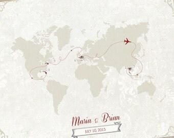 Wedding Centerpiece, Wedding Guest Book Alternative Map, Vintage Banner Map, Custom World Map, Wedding art