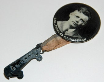 Vintage Col CHARLES A LINDBERGH Pin Medal Button RIBBON Pinback w/ Ribbon/Button n Attached Hanging Spirit St Louis AirPlane - Free Shipping
