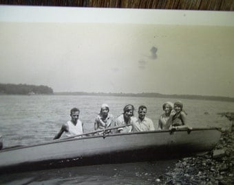 Vintage Snapshot Photo - Friends In Boat On Lake - Cool Ride