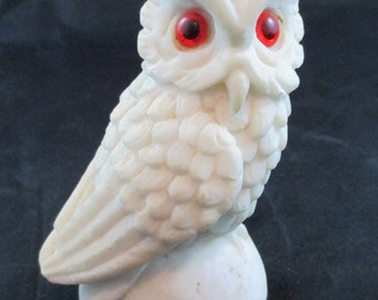 Vintage White Owl with Orange Eyes Figurine Collectible